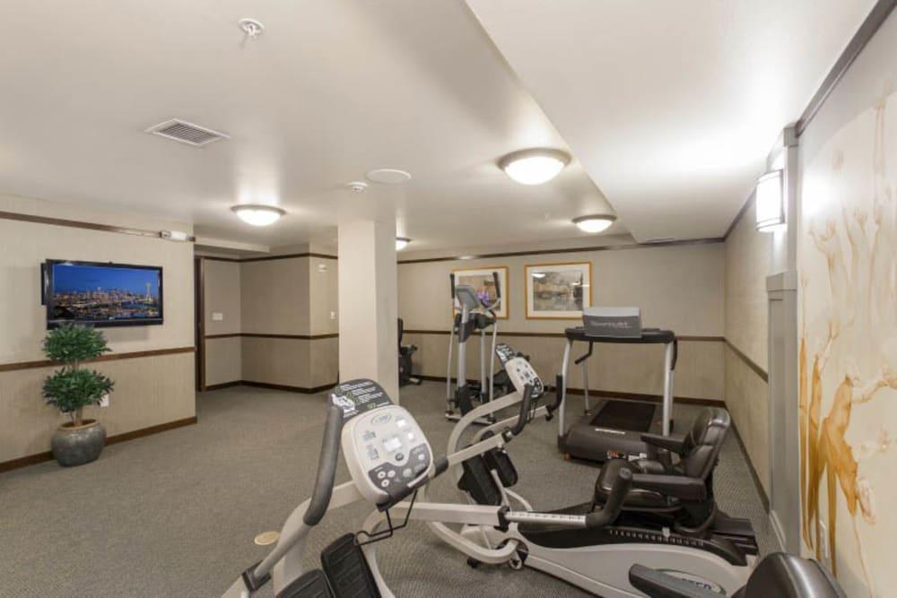 Fitness center at Merrill Gardens at Kirkland in Kirkland, Washington.