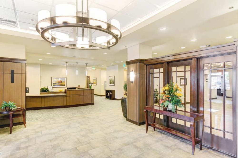 Reception room at Merrill Gardens at Lafayette in Lafayette, California.