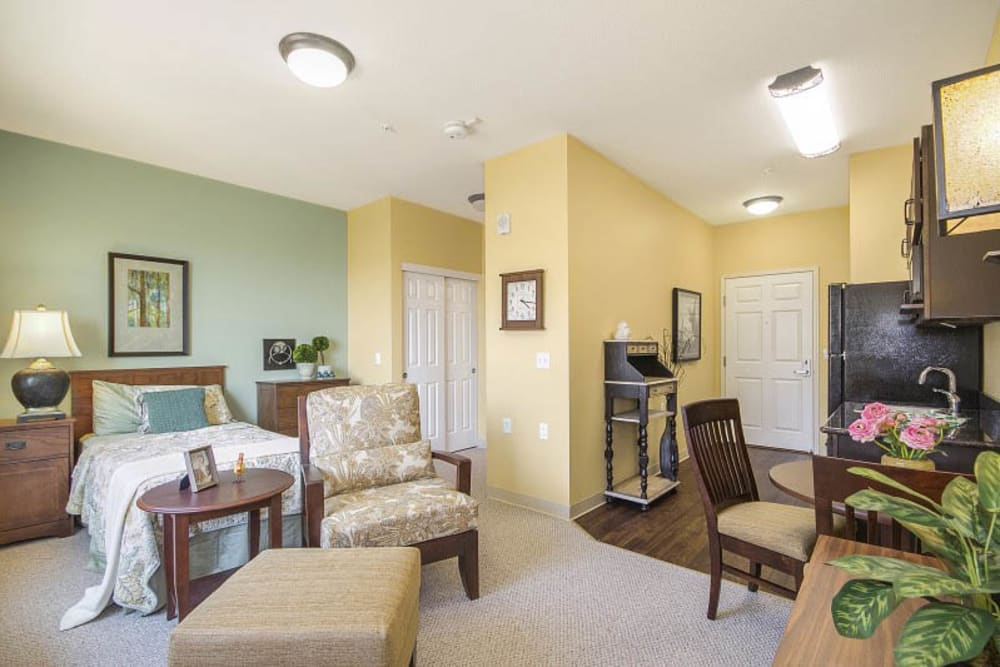 Bedroom at The Pines, A Merrill Gardens Community in Rocklin, California.