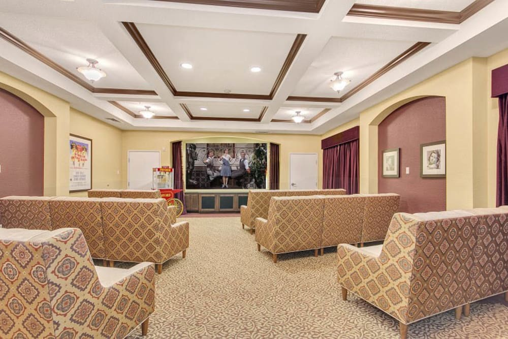 Resident theater at The Pines, A Merrill Gardens Community in Rocklin, California.
