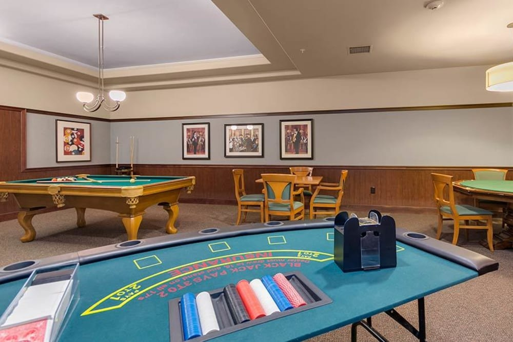 Game room at Merrill Gardens at Green Valley Ranch in Henderson, Nevada.