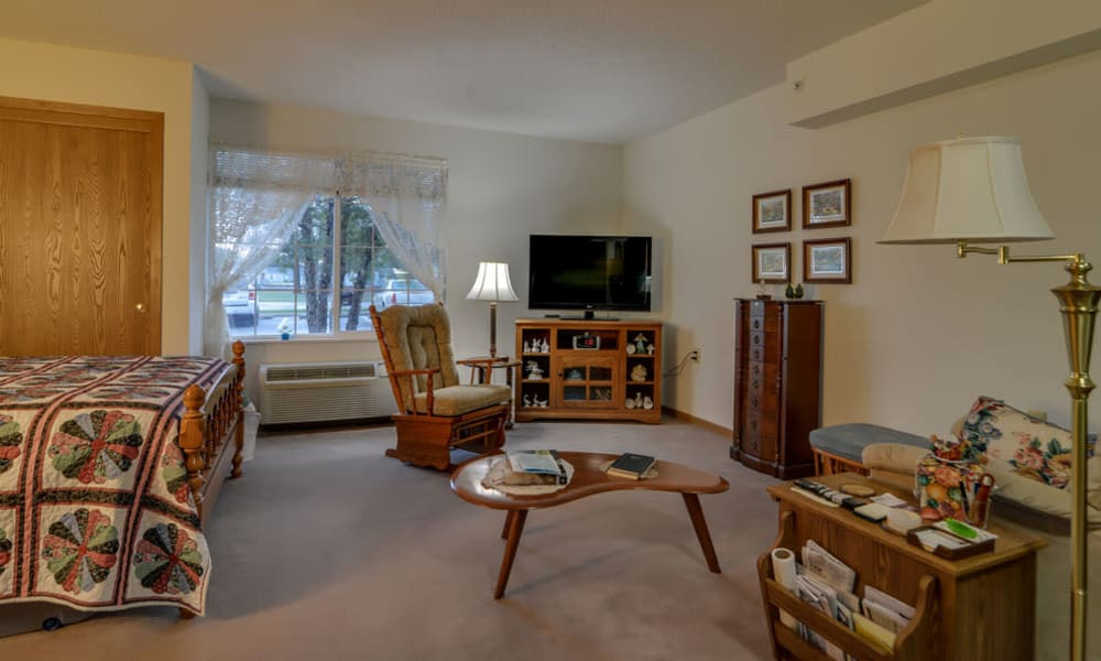 Studio apartment for assisted living residents at River Bend in Great Bend, Kansas