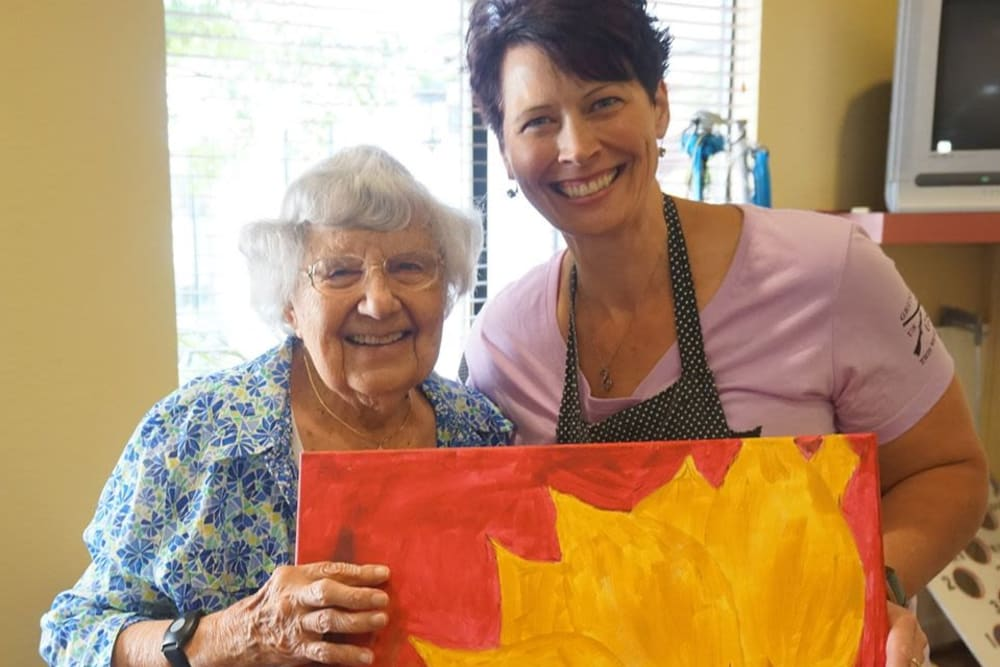 Residents lovely painting at Winding Commons Senior Living in Carmichael, California