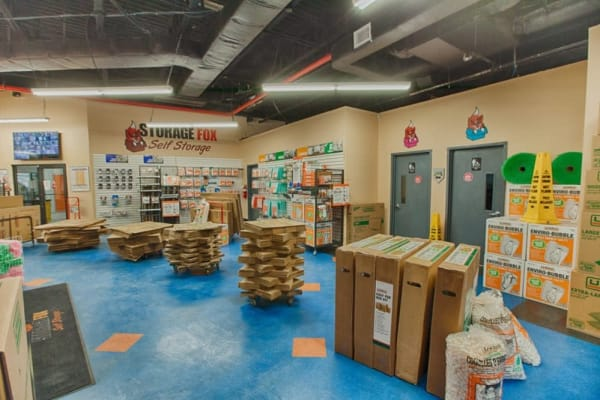 Office lobby filled with packaging supplies at Clutter Self-Storage in Brooklyn, New York