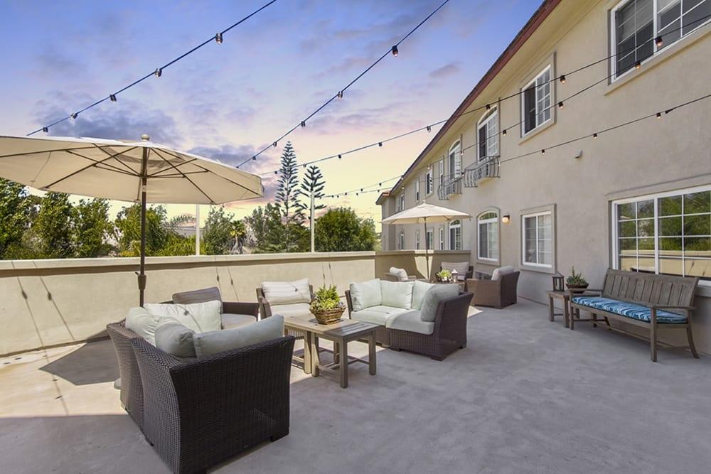 Patio seating at Merrill Gardens at Oceanside in Oceanside, California.