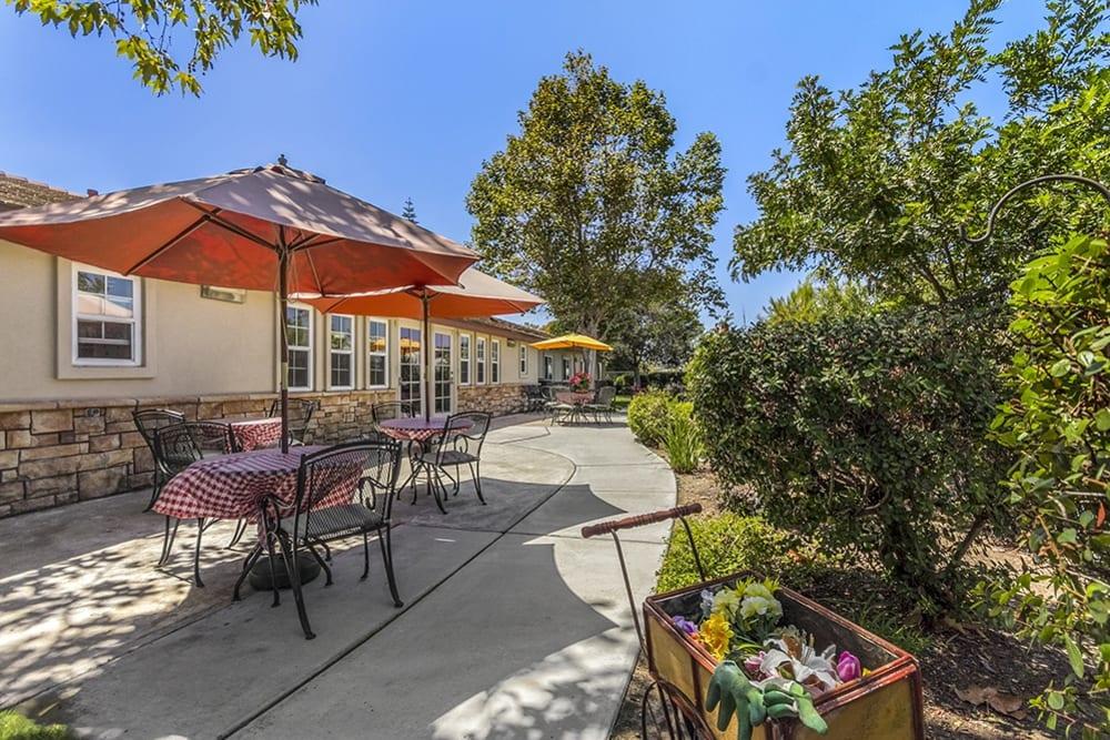 The patio at Merrill Gardens at Oceanside in Oceanside, California.