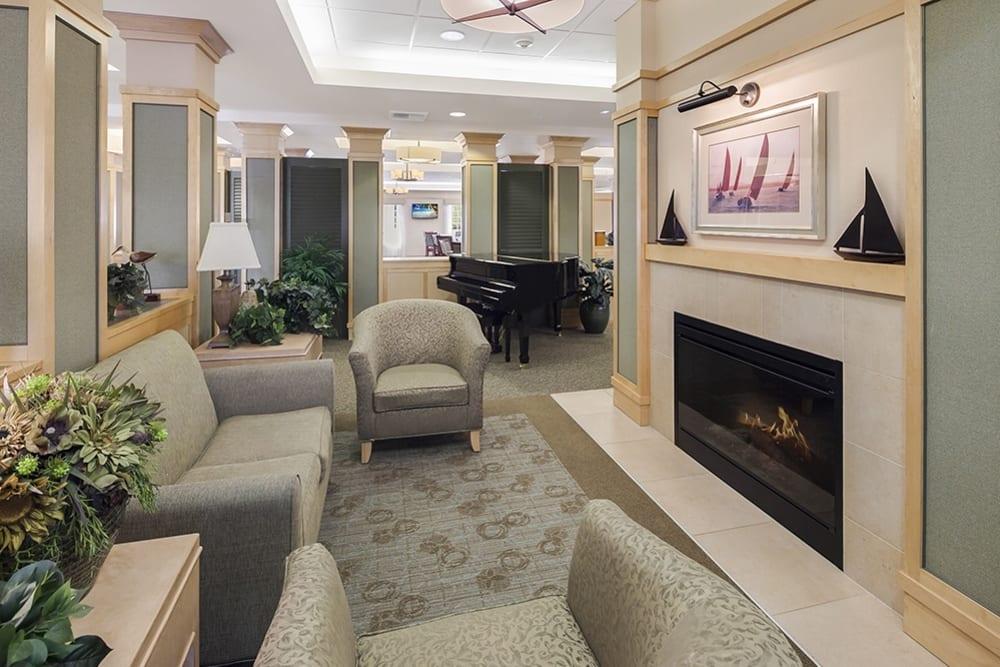 Fireplace seating at Merrill Gardens at Willow Glen in San Jose, California.