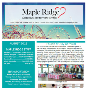 August Maple Ridge Gracious Retirement Living newsletter