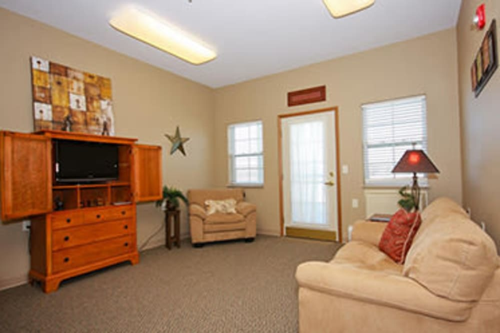 Assisted living apartment living room at Milestone Senior Living in Faribault, Minnesota.