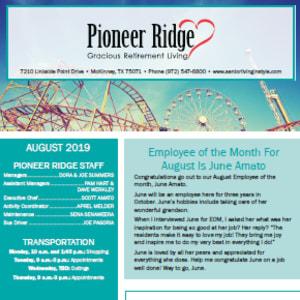 August Pioneer Ridge Gracious Retirement Living newsletter