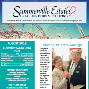 August Summerville Estates Gracious Retirement Living newsletter