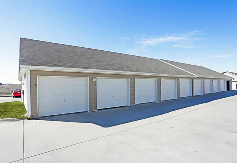 Outdoor garages and storage at Johnston Heights in Johnston, Iowa