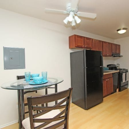 Dining area at West Line Apartments in Hanover Park, Illinois
