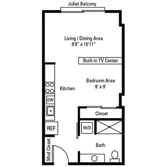 Studio, 1 Bath 508 sq. ft. apartments for rent at City Centre in Ithaca, NY