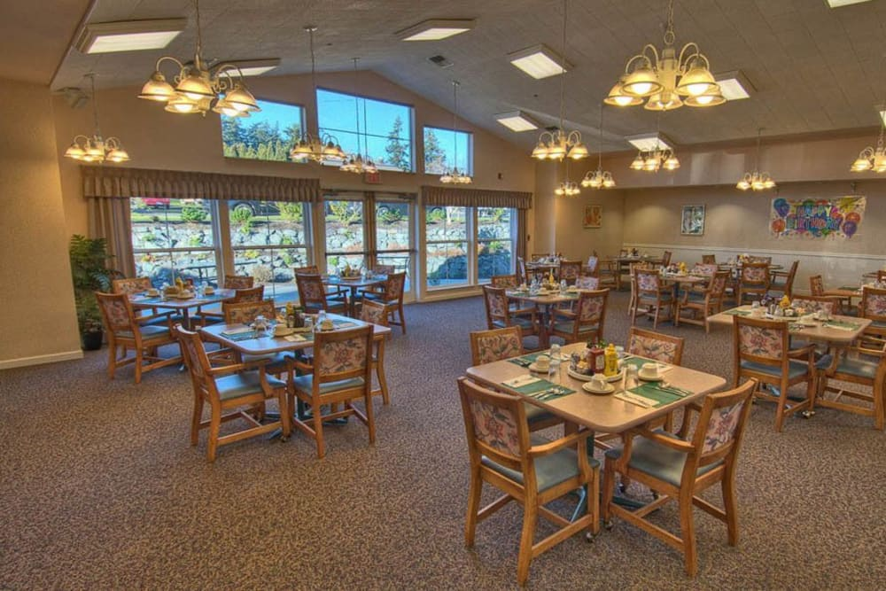 Dining room At Chandler's Square Retirement Community in Anacortes.