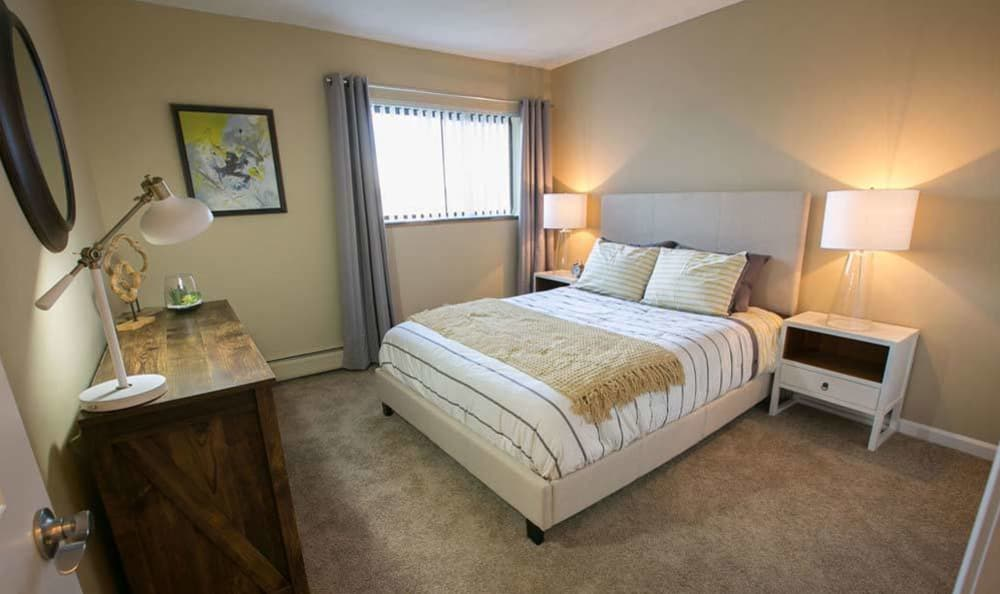 Model bedoom at The Drake Apartments in Mayfield Heights