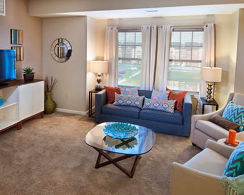 Cozy well deocrated living room at Rochester Village Apartments at Park Place in Cranberry Township, Pennsylvania