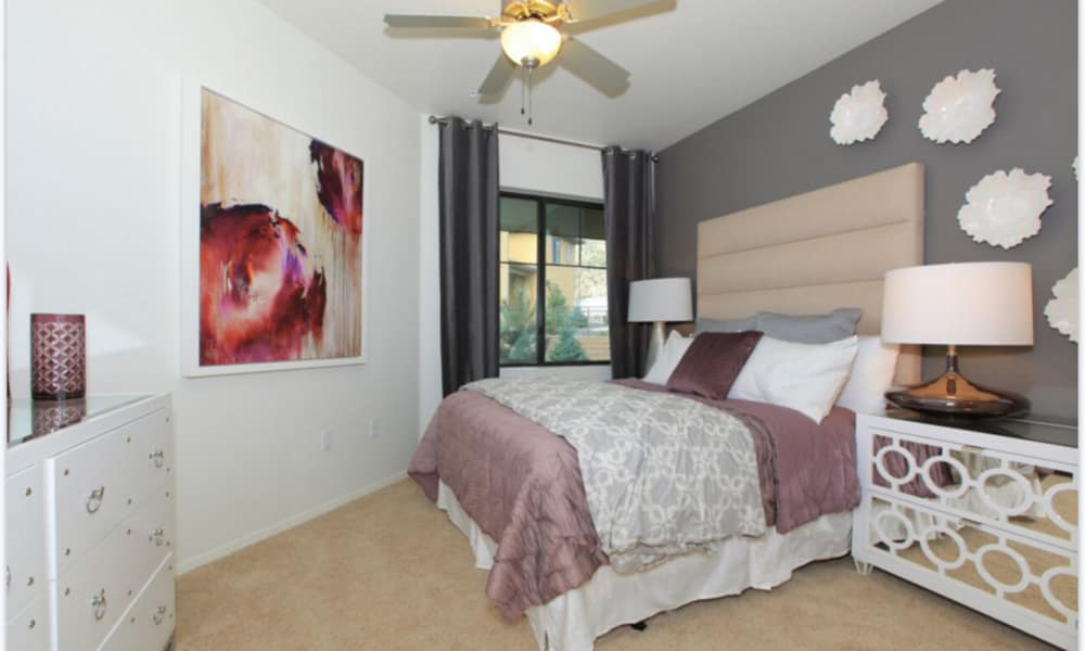 Well decorated bedroom at Elevation Apartments
