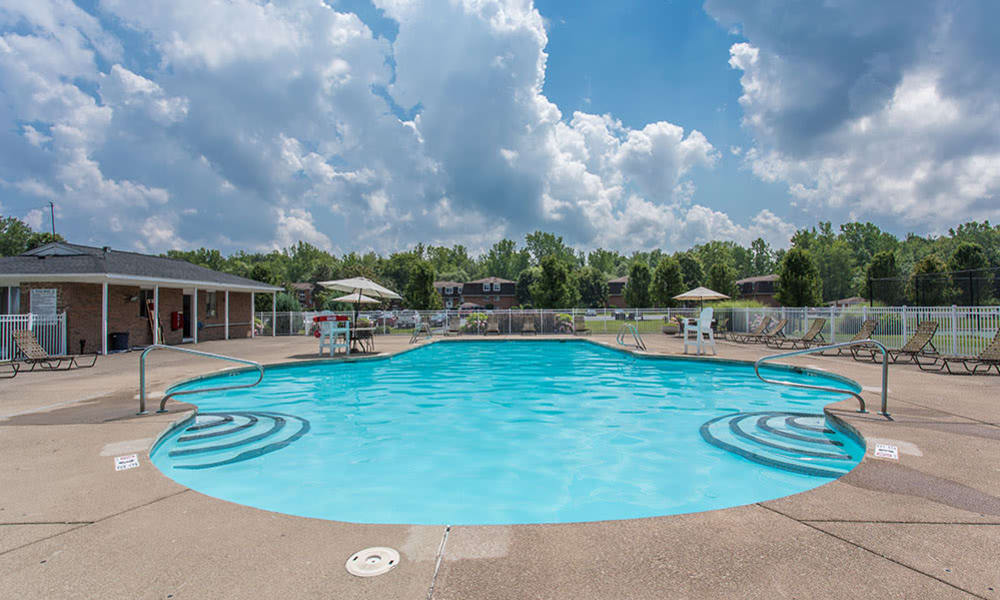 Spacious swimming pool at Willowbrooke Apartments and Townhomes in Brockport, NY