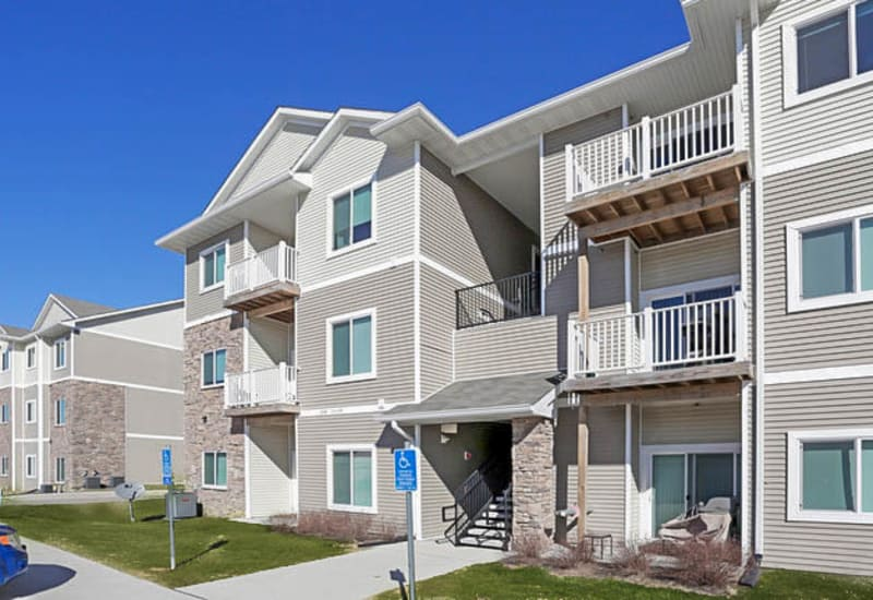 Apartment balconies at Johnston Heights in Johnston, Iowa