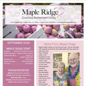 September Maple Ridge Gracious Retirement Living Newsletter