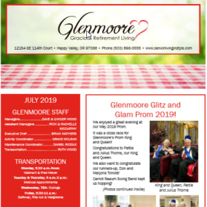 July Glenmoore Gracious Retirement Living Newsletter