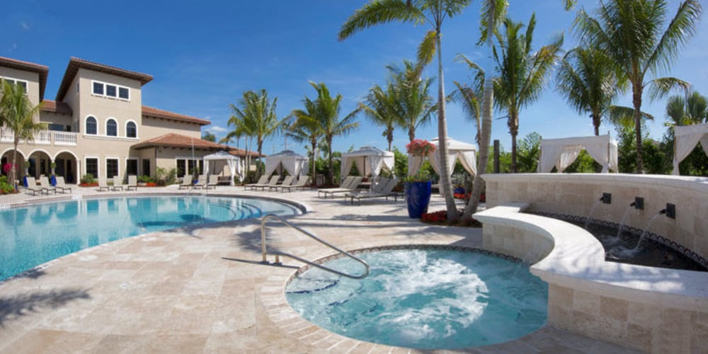 Resort-style swimming pool and spa at Doral View Apartments in Miami, Florida