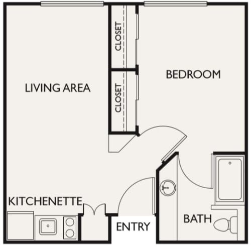 Independent Living one bedroom II at Fairview Commons in Costa Mesa, California