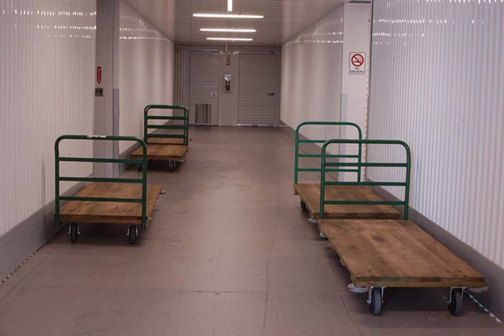 Dollies and carts available for use at Superior Boat, RV & Commercial Self Storage in Folsom, California