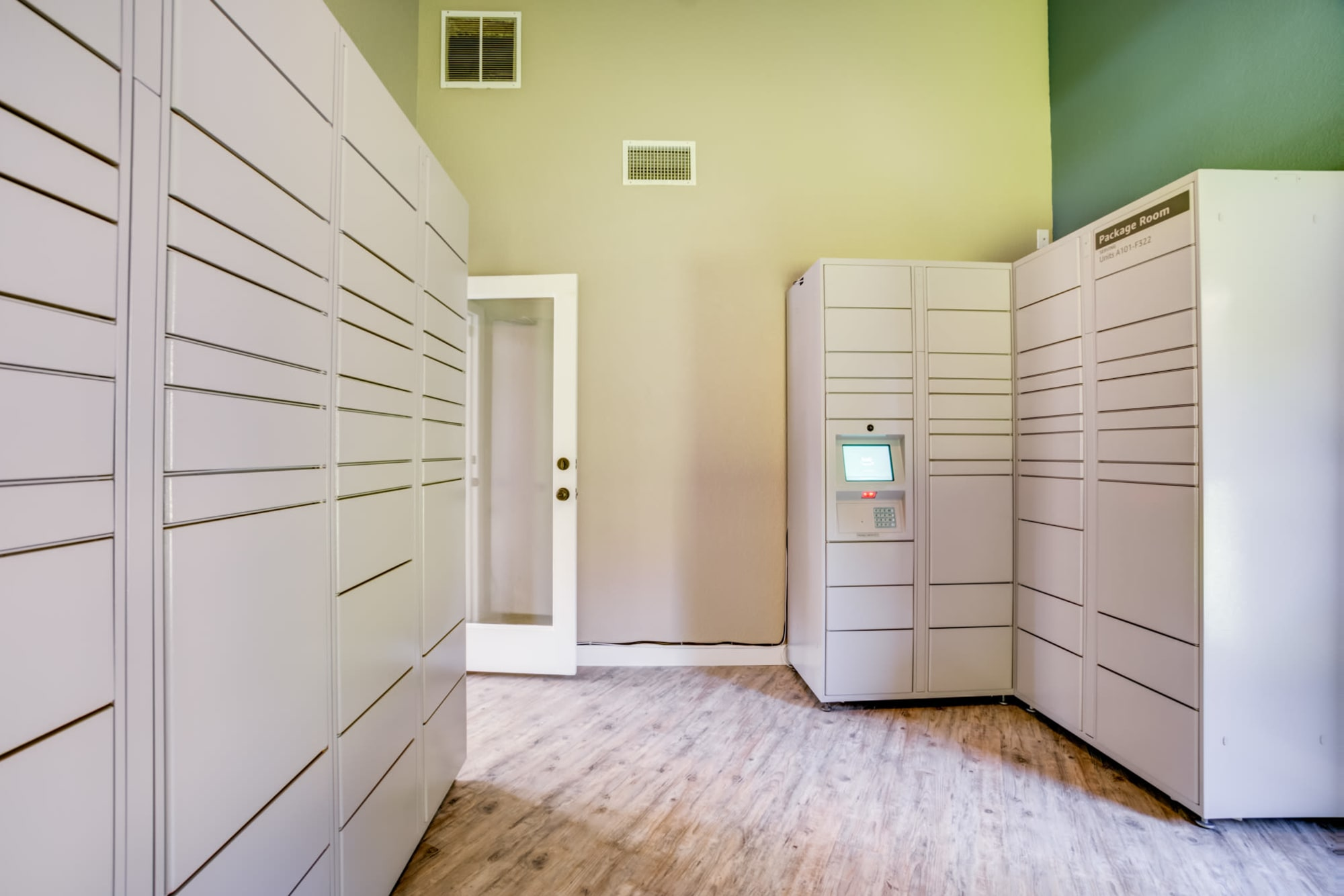 Package Room with 24-hour package lockers at Serramonte Ridge Apartment Homes