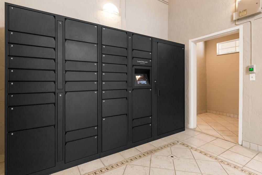 Storage lockers for residents at The Vue at Baymeadows Apartment Homes in Jacksonville, Florida