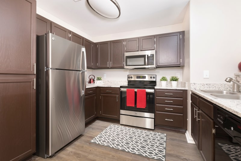 Kitchen area with modern stainless steel appliances at Ascend @ 1801 in Charlotte, North Carolina
