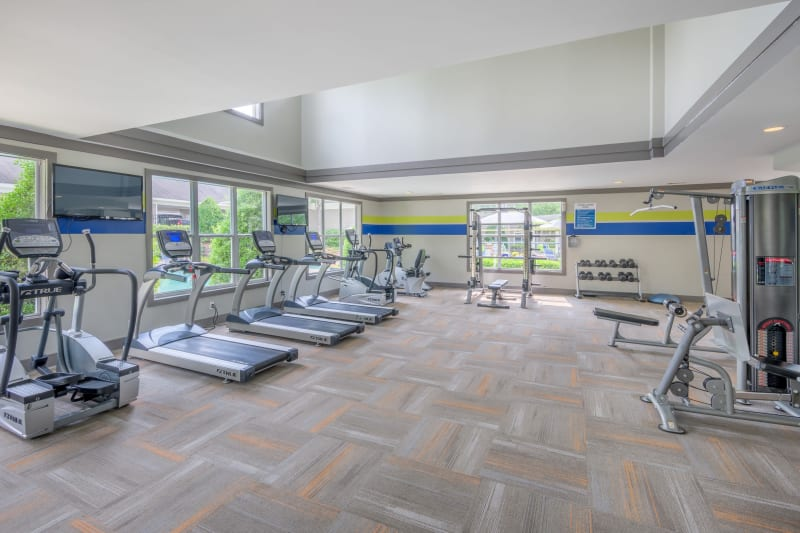 Very well-equipped onsite fitness center at The Mark in Raleigh, North Carolina