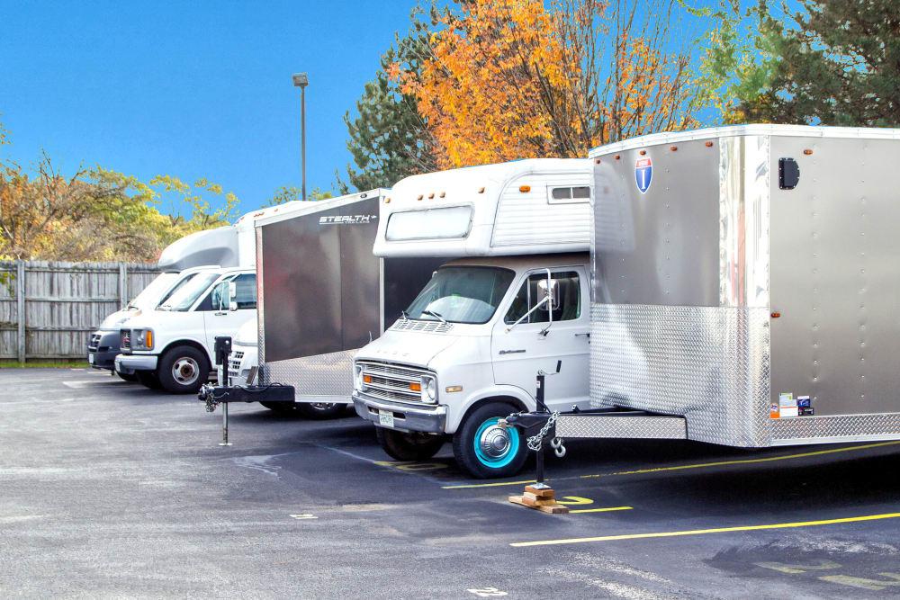 Outdoor RV storage at Prime Storage in West Chicago, Illinois