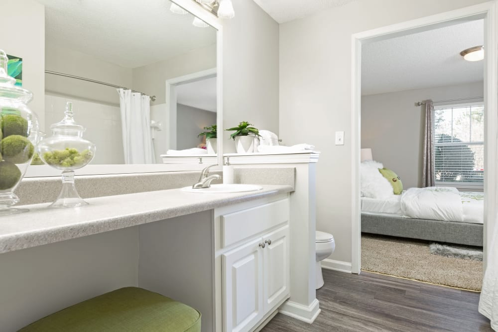 Large main bathroom with huge mirror and lots of counter space at Belle Vista Apartment Homes in Lithonia, Georgia