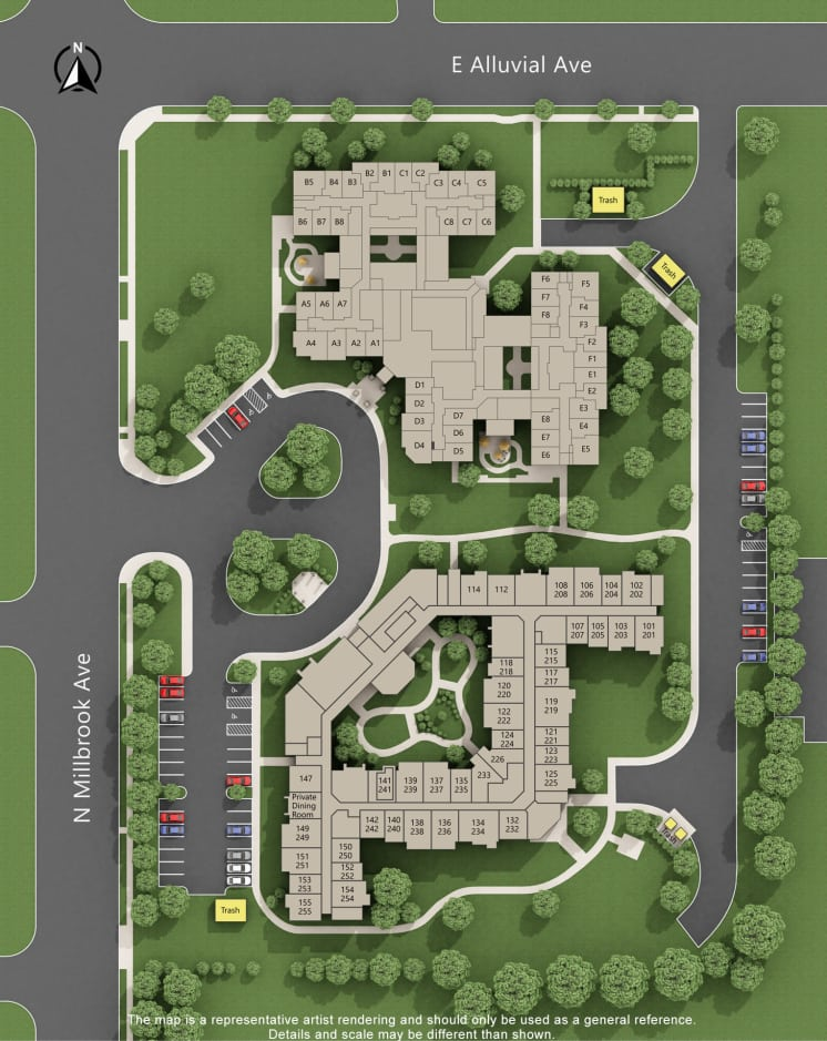 Cottonwood Court site map in Fresno, California