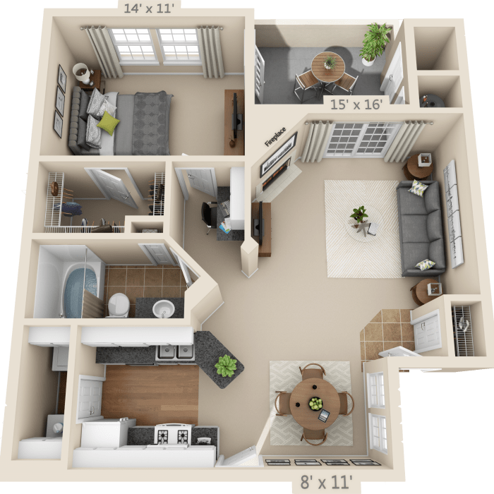1 Bedroom Floor Plan - Biltmore