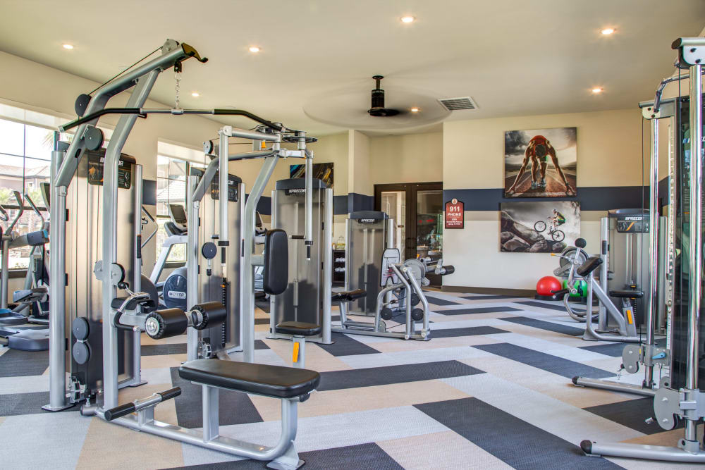 Onsite fitness center with ample equipment for all at Waterford Trails in Spring, Texas