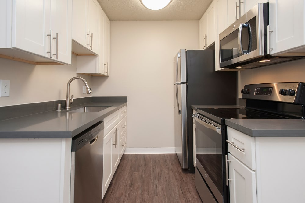 State-of-the-art kitchen with stainless-steel appliances at Regency Plaza Apartment Homes in Martinez, California