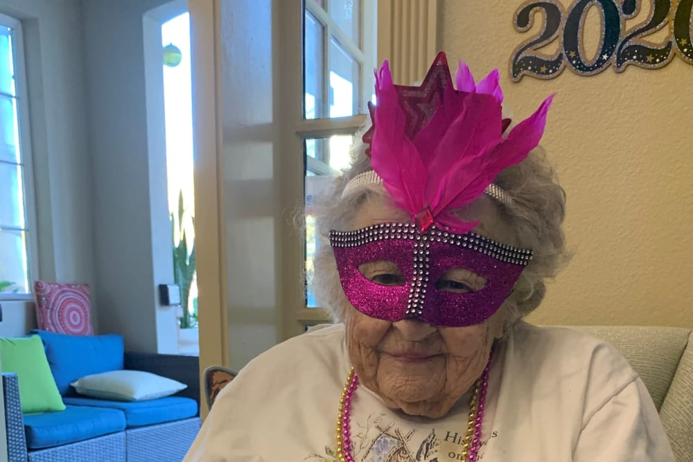 A resident with a fun mask at Merrill Gardens at Oceanside in Oceanside, California.