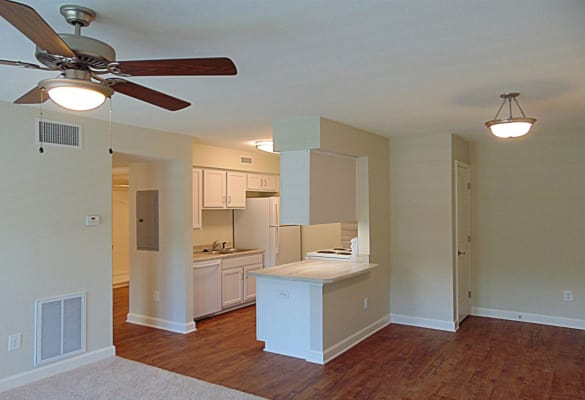 Courtyard Commons apartments in Jamestown showcase a spacious kitchen