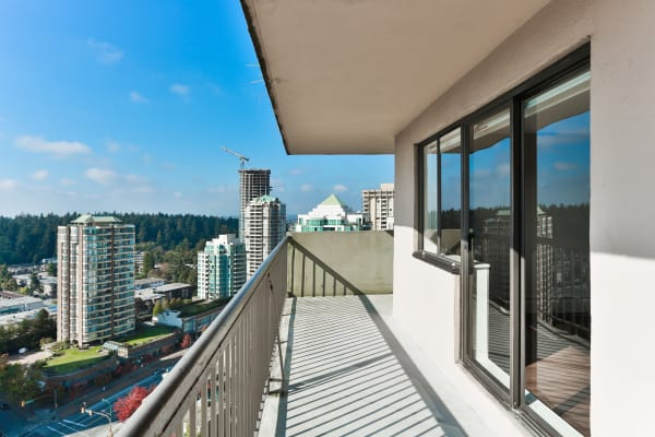 Balcony view at Panarama Tower in Burnaby, BC