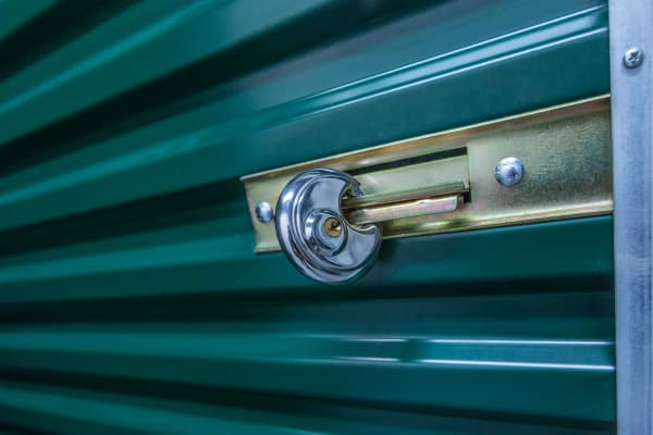 Lock on a storage unit at Lockaway Storage in Boerne, Texas