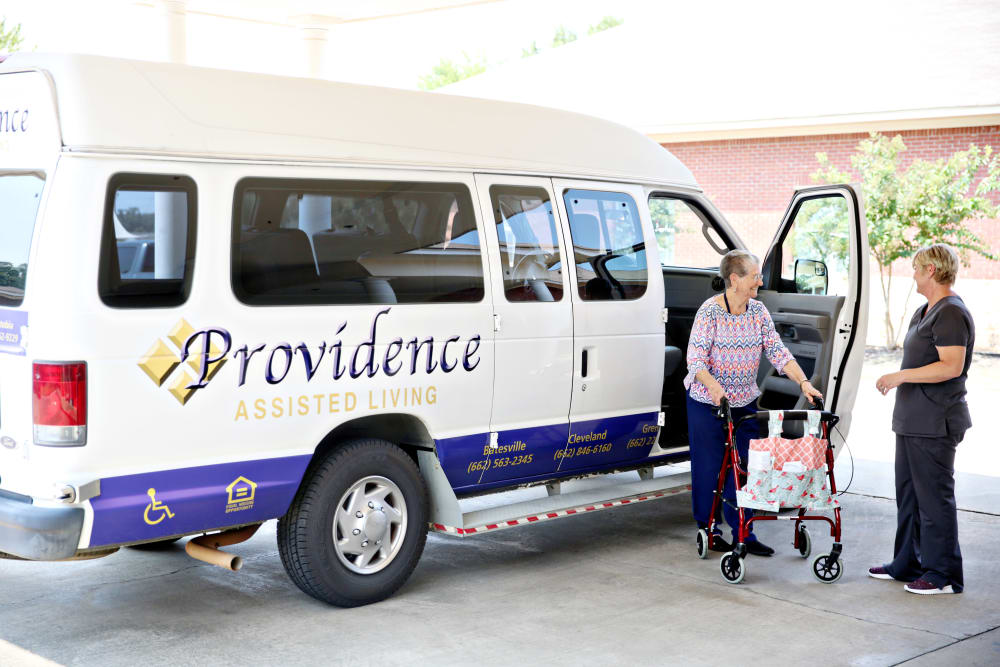 The transportation van at Providence Assisted Living in Batesville, Mississippi.