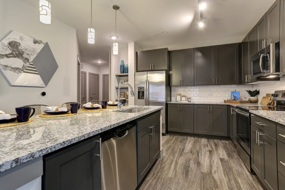Kitchen layout at The Sawyer at One Bellevue Place in Nashville, Tennessee
