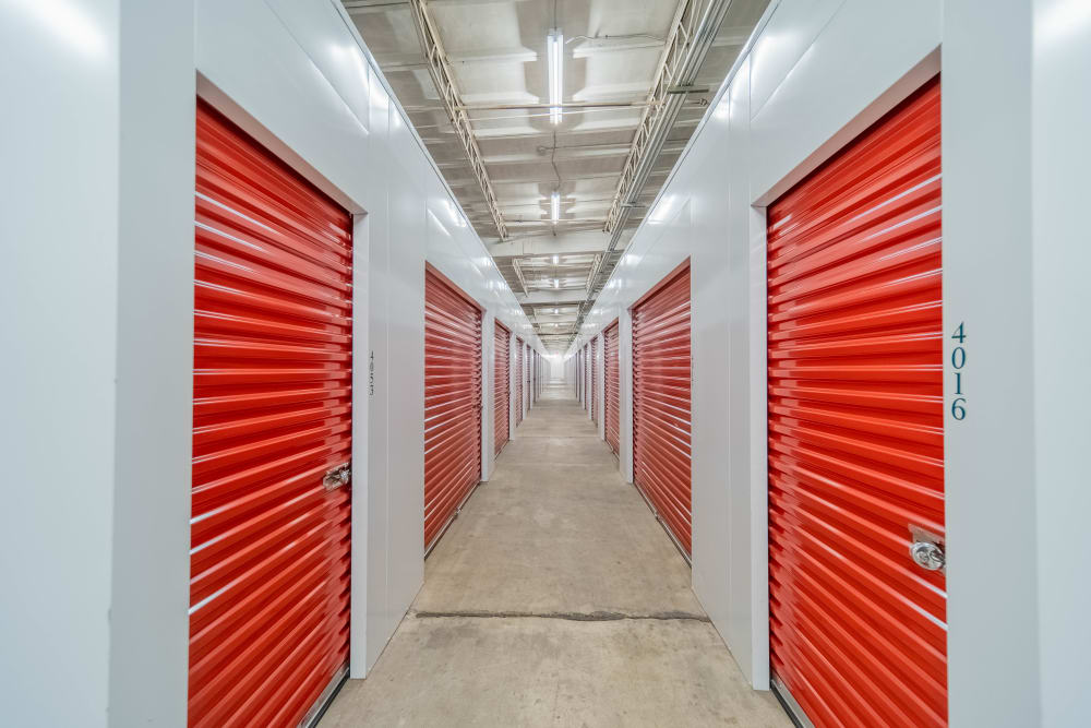 Interior units at self storage facility in Charlotte, North Carolina