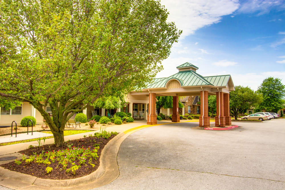 Main entrance at Brookstone Assisted Living Community in Fayetteville, Arkansas.
