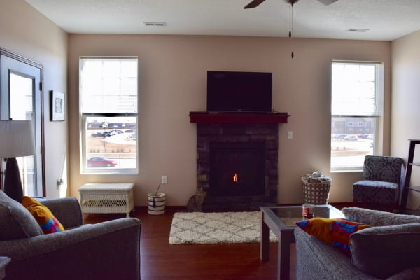 Living room with a cat by the fireplace at Prairie Reserve in Cedar Rapids, Iowa