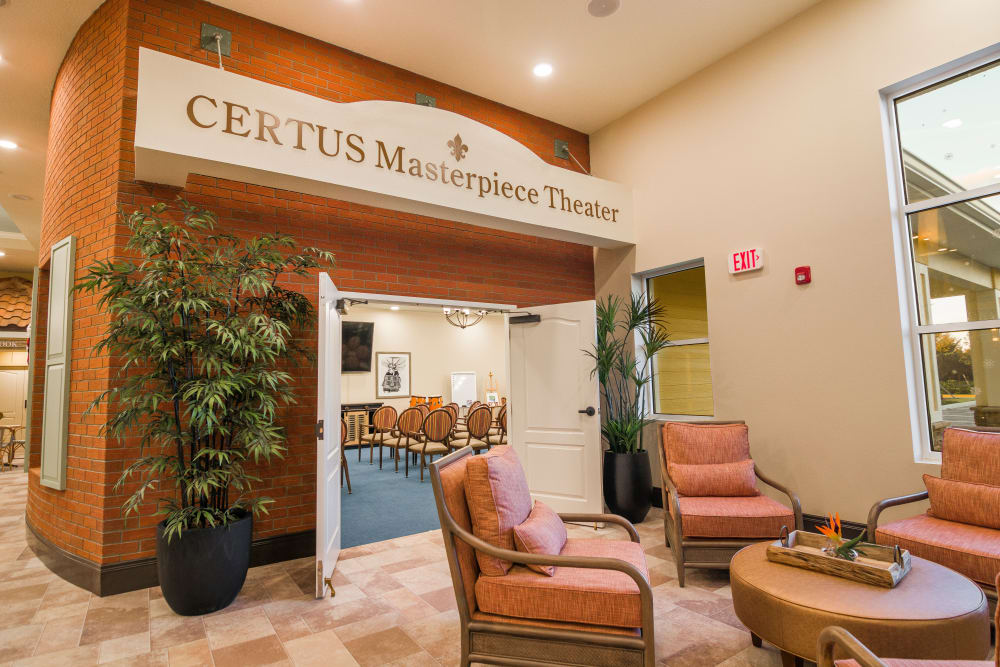 The resident theater at CERTUS Premier Memory Care Living in Orlando, Florida.