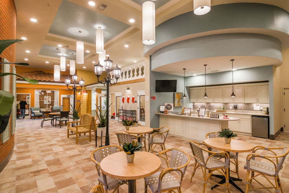 Spacious resident dining area at CERTUS Premier Memory Care Living in Orange City, Florida.